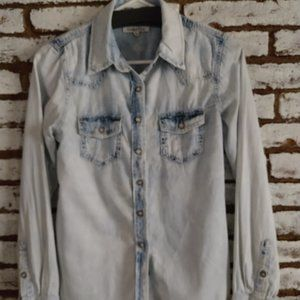 Wishful Park Chambray Button Down Top Long Sleeve